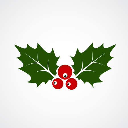 Flat Icon of Christmas Holly Berry. Vector illustration EPS10