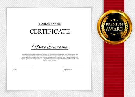 Plantilla de certificado de fondo. Premio diploma de diseño en blanco. Ilustración del vector EPS10