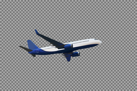Realistic 3D model of an airplane flying in the air of white and blue coloring on a transparent background. Vector Illustration.