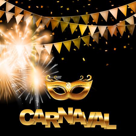 Carnaval golden banner. Vector illustration. 일러스트