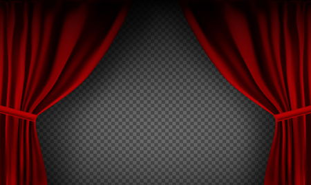 Realistic colorful red velvet curtain folded on a transparent background. Option curtain at home in the cinema. Vector Illustration Ilustração