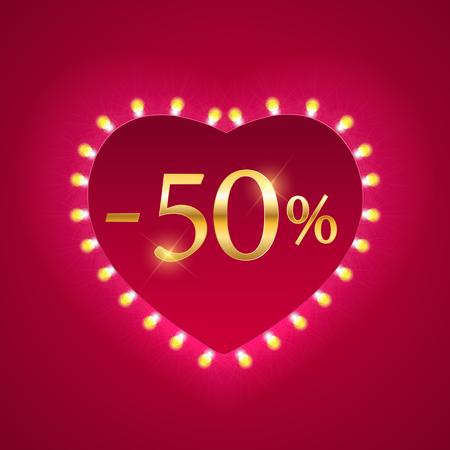 Valentinstag Urlaub Rabatt Banner Verkauf Poster. Vektor-Illustration EPS10