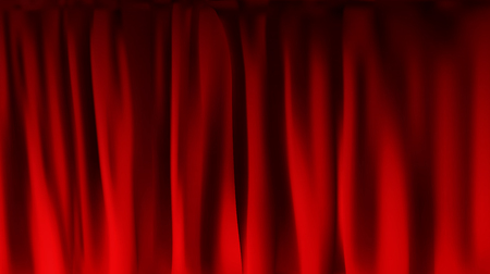 Realistic colorful red velvet curtain folded. Option curtain at home in the cinema. Vector Illustration.