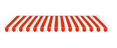 Buitenzonwering Rood en wit zonnescherm. vectorillustratie