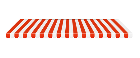 Outdoor awnings Red and white sunshade. Vector Illustration
