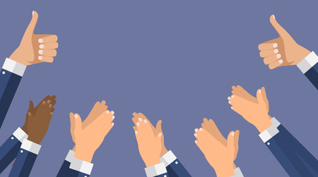 Flat Design Clapping Hand Applause banners template. Vector Illustration EPS10