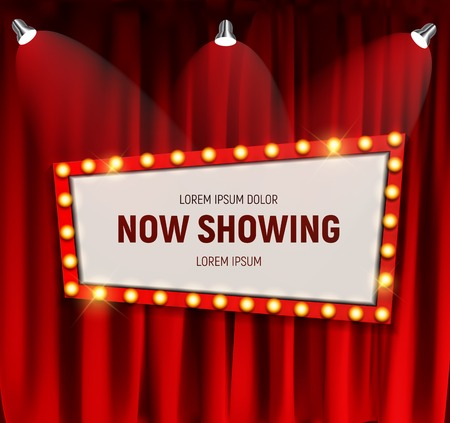 Realistic retro cinema Now Showing announcement board with bulb frame on curtains background. Vector Illustration Illustration