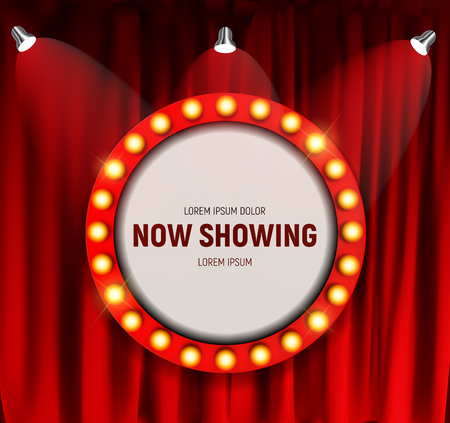 Realistic retro cinema Now Showing announcement board with bulb frame on curtains background. Vector Illustration Vettoriali