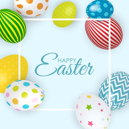 Resumen Feliz Pascua Plantilla Fondo Vacaciones Ilustración Vectorial EPS10