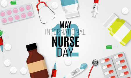 12 May International Nurse Day Medical background Vector illustration EPS10 Çizim