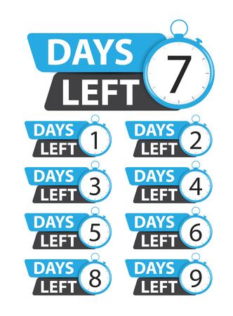 Oferta cartel de negocio de venta con conjunto de colección de días restantes. Ilustración de vector EPS10