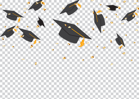Education Concept Background. Graduation caps and confetti. vector illustration EPS10