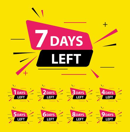 Aanbieding verkoop bedrijfsbord met Days left collectie set. Vector illustratie eps10 Vector Illustratie