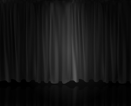 Projecteur réaliste sur rideau de scène. Option rideau à la maison au cinéma. Illustration vectorielle. Vecteurs