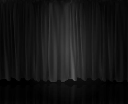 Riflettori realistici sul sipario. Tenda opzionale a casa al cinema. Illustrazione di vettore. Vettoriali