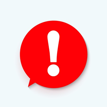 Red attention sign in speech bubble. Exclamation mark icon. Vector illustration