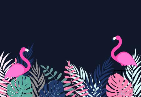Cute Pink Flamingo Summer Background Vector Illustration EPS10