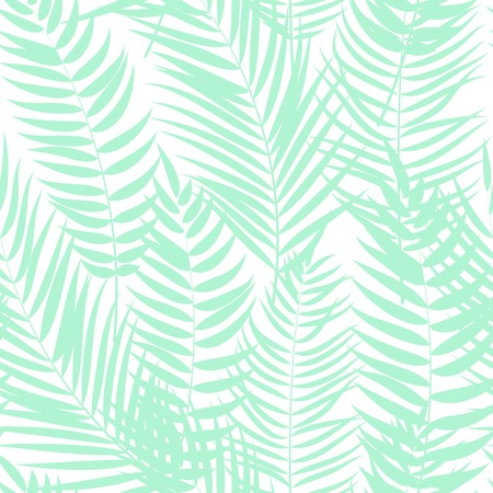 Beautiful Palm Tree Leaf Silhouette Seamless Pattern Background Vector Illustration