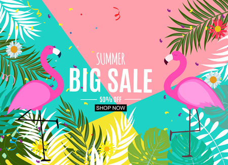 Abstract Summer Sale Background with Palm Leaves and Flamingo. Vector Illustration EPS10 版權商用圖片 - 122872557
