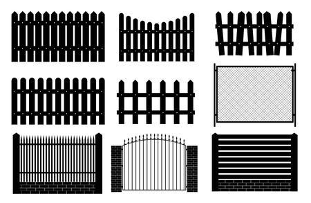Kolekcja Zestaw ogrodzeń, pikiety sylwetki na tle ogrodu. Ilustracja wektorowa eps10