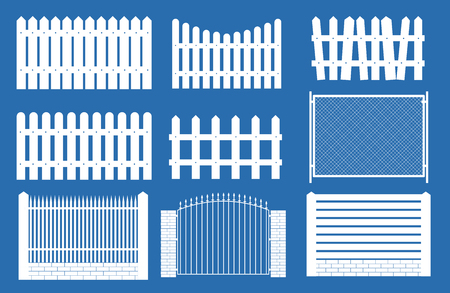 Collection Set of fences, pickets silhouettes for garden background. Vector Illustration EPS10 Vettoriali