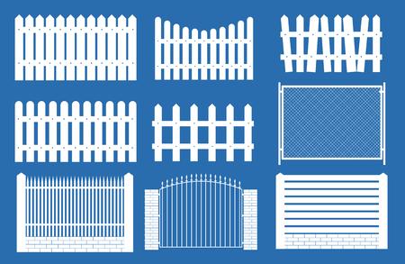 Sammlung Set von Zäunen, Streikposten Silhouetten für Gartenhintergrund. Vektor-Illustration EPS10 Vektorgrafik