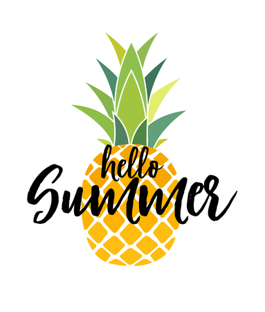 Hello Summer Concept. Tropic fruit Pineapple icon symbol design. Vector Illustration EPS10 Иллюстрация
