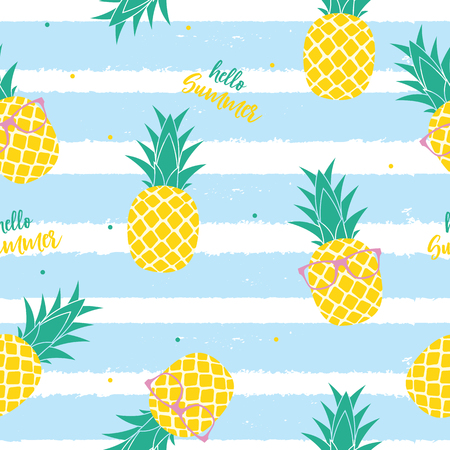 Tropic fruit Pineapple seamless pattern background design. Vector Illustration EPS10