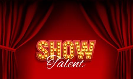 Tablero de anuncios de Show realista con marco de bombilla sobre fondo de cortinas. Ilustración vectorial Ilustración de vector