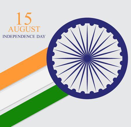 15 août, fond de célébration de la fête de l'indépendance de l'Inde. Illustration vectorielle