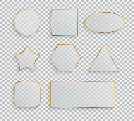 Glass Transparency Frame Collection Set  Vector Illustration