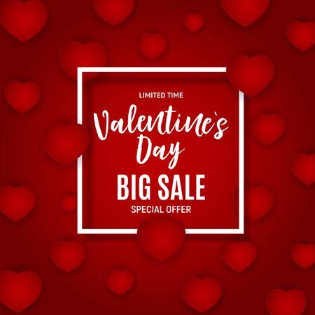 Valentijnsdag liefde en gevoelens verkoop achtergrondontwerp. Vector illustratie EPS10