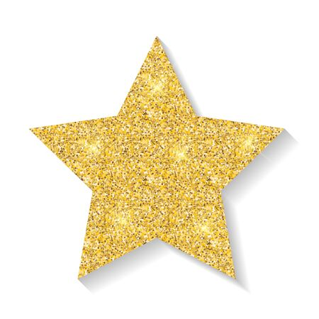 Gold glitter star icon isolated on white background. Vector Illustration
