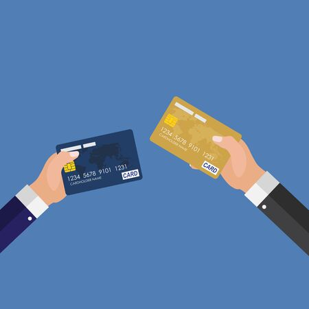 Credit Card Status Upgrade Concept. Vector Illustration Çizim