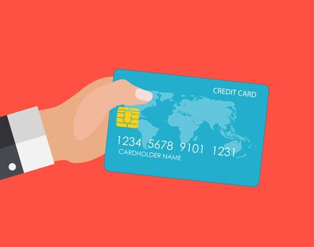 Hand holding credit card. Financial and online payments concept. Vector illustration