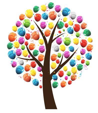 Vector abstracto árbol feliz cumpleaños con globos ilustración