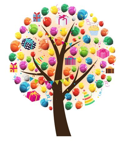 Abstract Vector Happy Birthday Tree with Balloons Illustration
