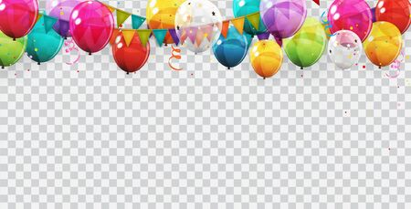 Group of Colour Glossy Helium Balloons Background. Set of  Balloons for Birthday, Anniversary, Celebration  Party Decorations. Vector Illustration