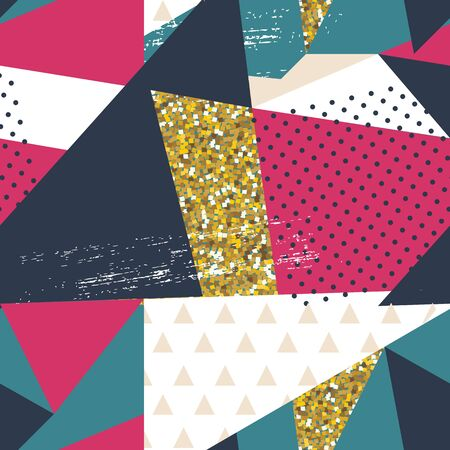 Abstract Geometric Seamless Pattern Background with Glitter Elements. Textile or Wallpaper Template. Vector Illustration Ilustração