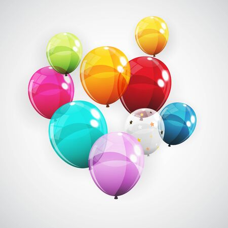 Group of Colour Glossy Helium Balloons Background. Set of Balloons for Birthday, Anniversary, Celebration Party Decorations. Vector Illustration Ilustração Vetorial