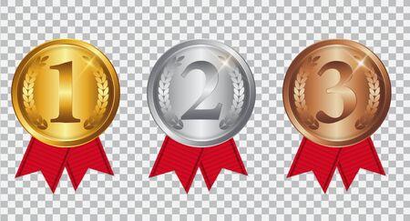 Medaglia d'oro, d'argento e di bronzo del campione con il nastro rosso. Icona segno di primo, secondo e terzo posto isolato su sfondo trasparente. illustrazione vettoriale