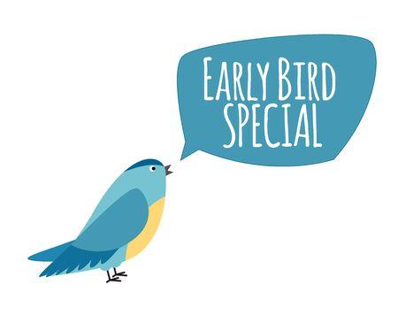 Pájaro con bocadillo. Concepto de promoción de oferta especial de reserva anticipada. Ilustración vectorial