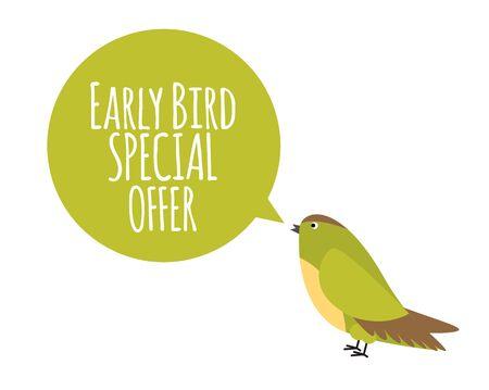 Pájaro con bocadillo. Concepto de promoción de oferta especial de reserva anticipada. Ilustración vectorial Ilustración de vector