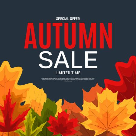 Shiny Autumn Leaves Sale Banner. Business Discount Card. Vector Illustration Imagens - 129243116