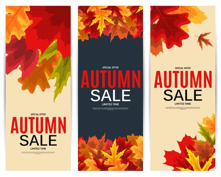 Shiny Autumn Leaves Sale Banner. Business Discount Card. Vector Illustration Imagens - 129243117