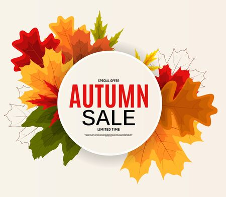 Shiny Autumn Leaves Sale Banner. Business Discount Card. Vector Illustration Imagens - 129243114