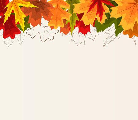 Autumn Natural Leaves Background. Vector Illustration Ilustração