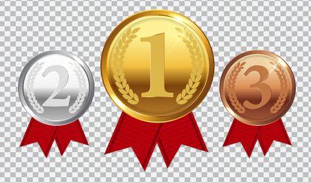 Medaglia d'oro, d'argento e di bronzo del campione con il nastro rosso. Icona segno di primo, secondo e terzo posto isolato su sfondo trasparente. Illustrazione vettoriale Eps10 Vettoriali