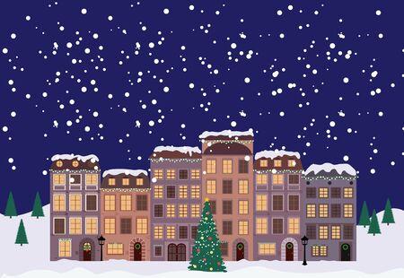 Invierno Navidad y Año Nuevo Little Town en estilo retro. Ilustración vectorial EPS10 Ilustración de vector