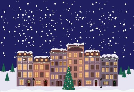 Winter Christmas and New Year Little Town in retro Style. Vector Illustration EPS10 Vector Illustratie